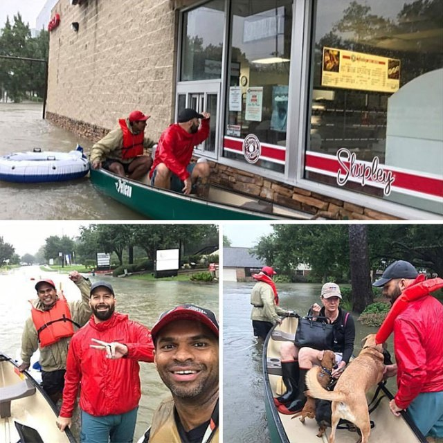 My Friends Out Rescuing People And Pets In Houston Today And Taking A Break For Donuts. Closed Unfortunately. Good People!