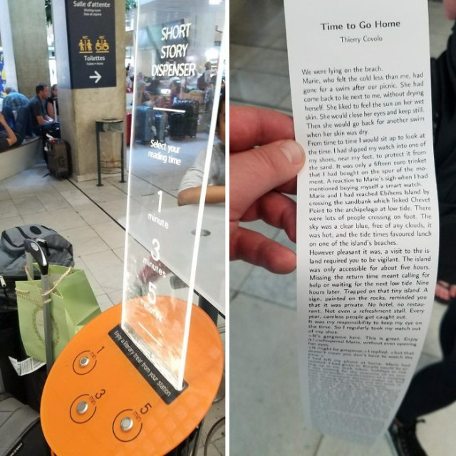 At This Airport, They Have A Machine That Will Print Off Free Short Stories For You To Read While You Wait!