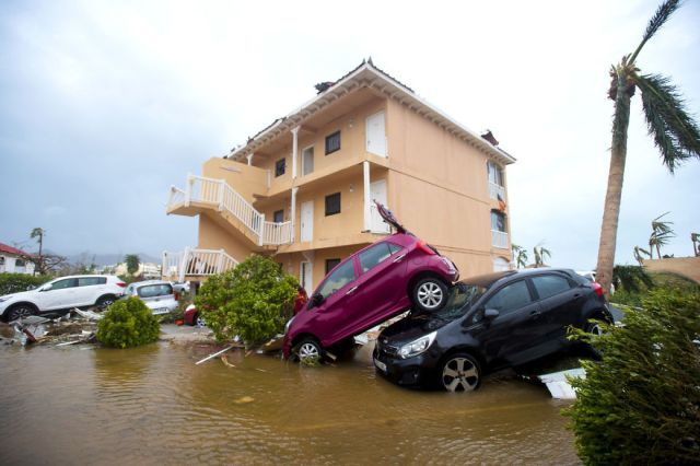 Wind Swept Cars Are Piled On Top Of One Another In Marigot, Saint Martin, After The Passage Of Hurricane Irma