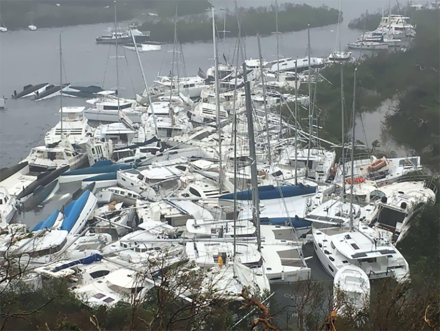 Pleasure Crafts Lie Crammed Against The Shore In Paraquita Bay As The Eye Of Hurricane Irma Passed Tortola, British Virgin Islands