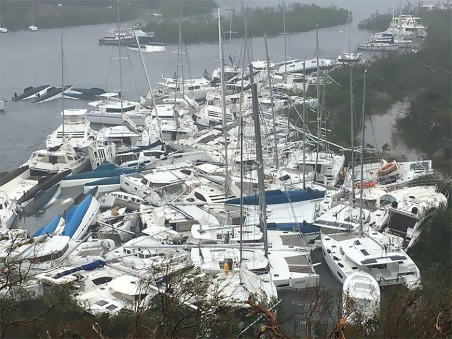 Pleasure Crafts Lie Crammed Against The Shore In Paraquita Bay As The Eye Of Hurricane Irma Passed Tortola, British Virgin Islands