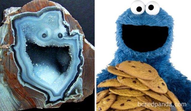Geoda que se semeja al monstruo de las galletas