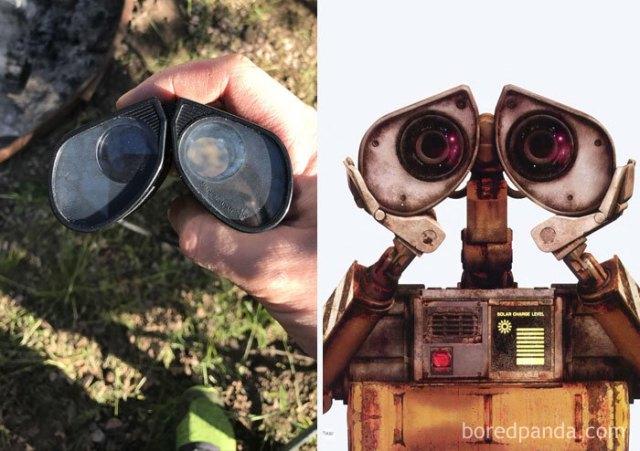Prismáticos que semejan los ojos de Wall-E