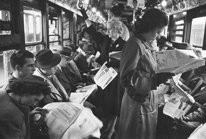 Passengers Reading In A Subway Car, 1946