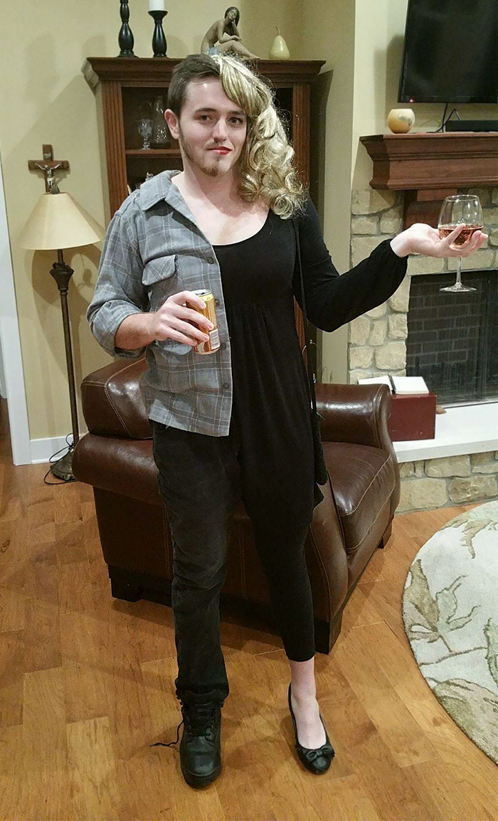 My Brother Was Sad His Girlfriend Couldn't Come To Our Halloween Party, So He Came As Both Of Them