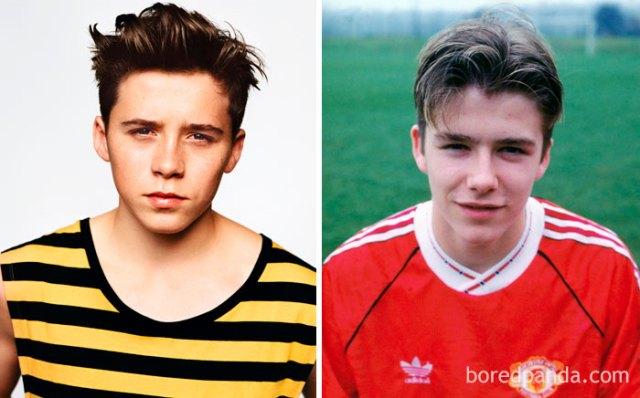 Brooklyn Beckham a los quince y David Beckham a los 17