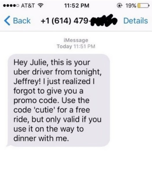 My Uber Driver From Earlier Just Texted Me