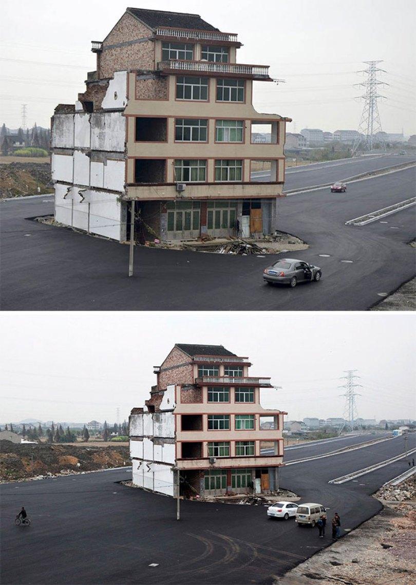 O governo da China pavimentou uma estrada em torno desses proprietários obstinados. Os moradores finalmente se mudaram, mas a casa se tornou um símbolo de resistência contra os desenvolvedores
