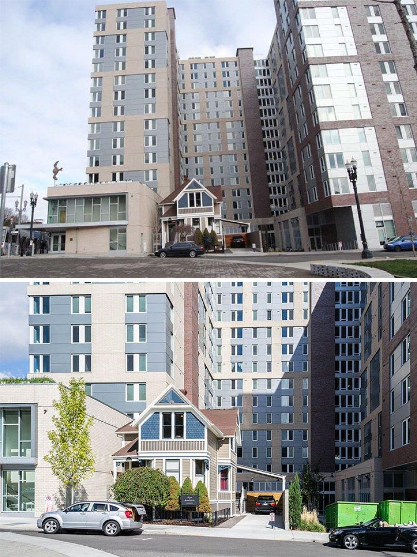 Randal Acker recusou-se a vender sua pequena casa da Rainha Anne, no centro da cidade, no Portland, então eles construíram uma enorme residência da universidade estadual de Portland em torno dela