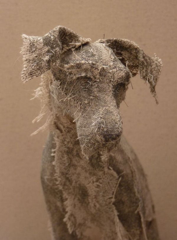 Artist Vintage Textiles Create Sculptures Of Dogs