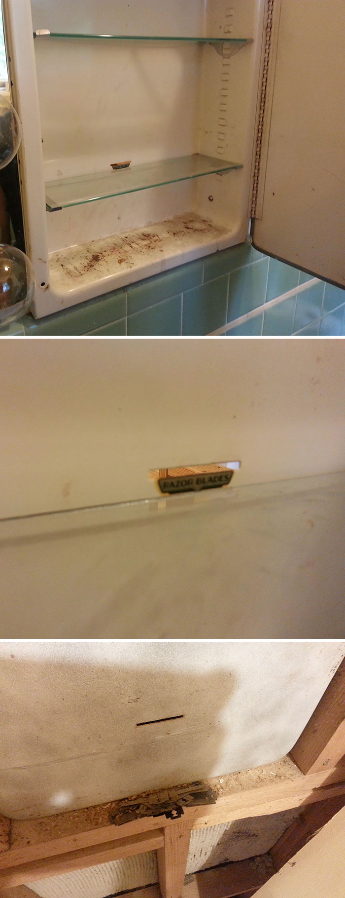 Apparently, Disposing Of Old Razor Blades Inside Your Wall Was Acceptable In The 1950's