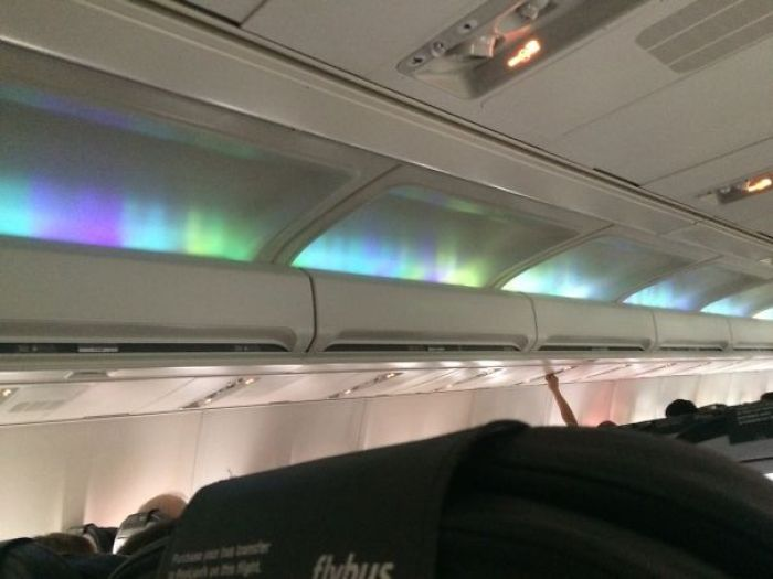 Our Flight To Iceland Had 'Northern Light' Effect Cabin Lights