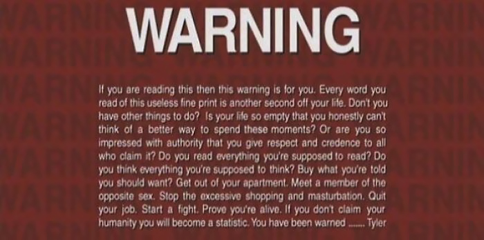 This Is The Warning Screen On The Home DVD Version Of Fight Club
