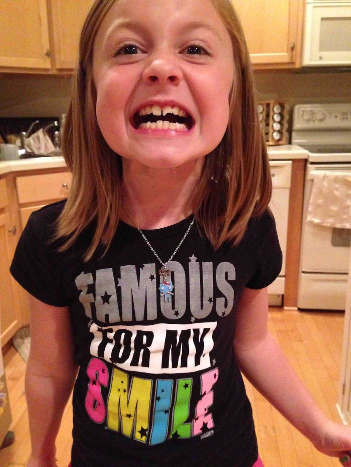 My 8-Year-Old Broke Her Front Tooth In Half Today By Roller Skating Into A Wall. This Was The Shirt She Was Wearing