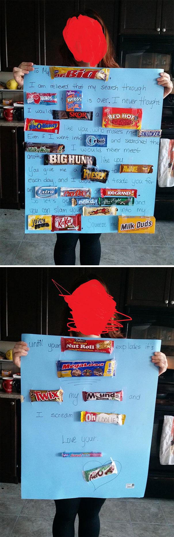 My Girlfriend Gave Me This Chocolaty Fun-Sized Valentine. Candy Sex Puns Best Puns