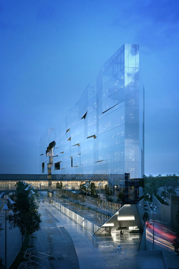 Due To The Lighting, Angle And Mirrored Glass, This Building Looks Nearly Invisible