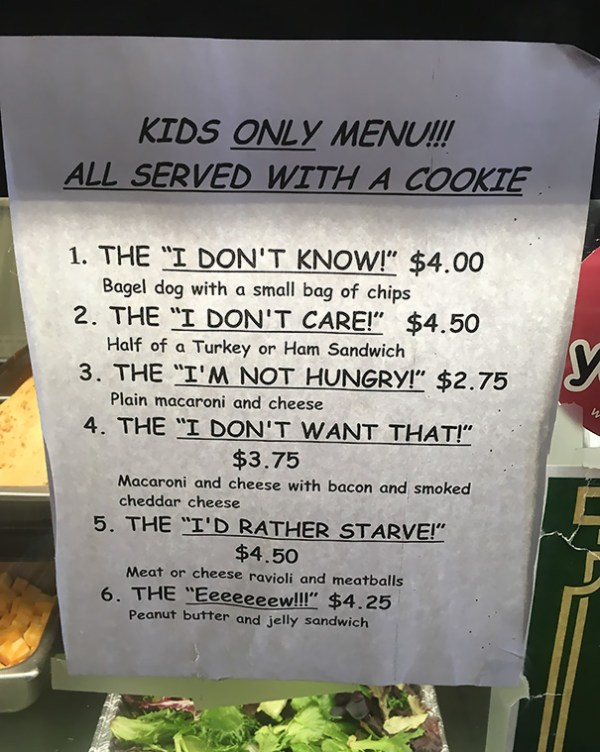 The Children's Menu At A Local Sandwich Shop