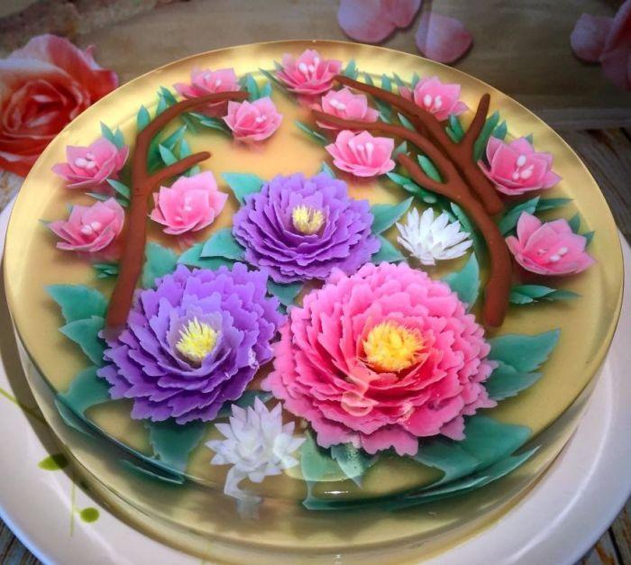 """Peach Oriental Garden In 8"""""""
