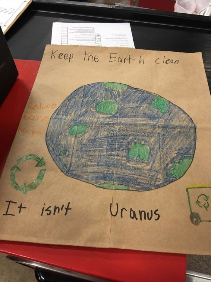 We Had A Local Elementary School Decorate Paper Bags For Earth Day And I Found This One We Had Left Over. This Kid Lol
