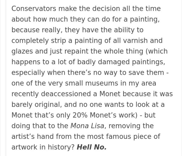 art-painting-restoration-mona-lisa-tumblr-post-23 People Won't Stop Demanding The Mona Lisa To Be Cleaned, So Someone Just Explained What Would Happen Art Design Random