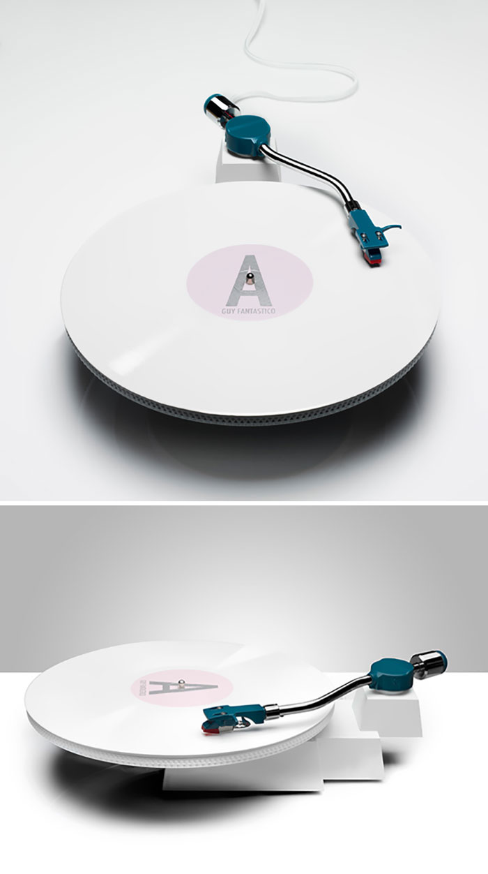 Record Player Reboot With A Beautifully Minimal Design Seen Alongside With All The Features Of All Full Fledged Record Player With 50% Less Footprint