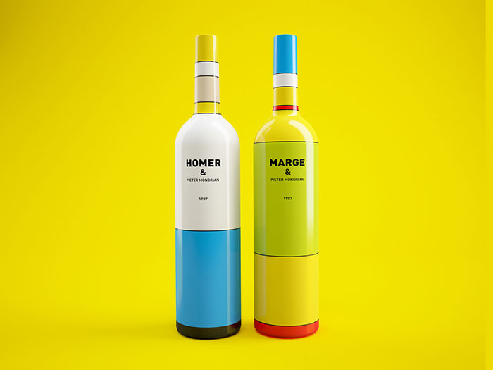 The Simpsons Inspired Minimalist Wine Bottles