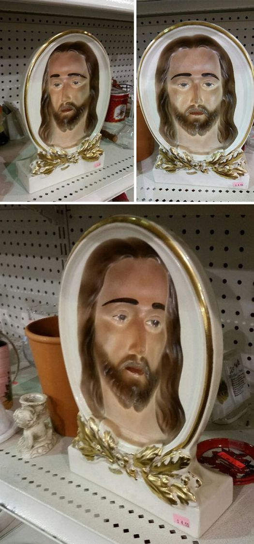 I Found One Of Those Concaved Optical Illusions At Goodwill That Follows You As You Move Around. Now I Can Disappoint Jesus From Every Angle