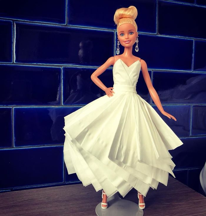 Man Creates Wedding Dresses For His Barbies Using Toilet Paper And