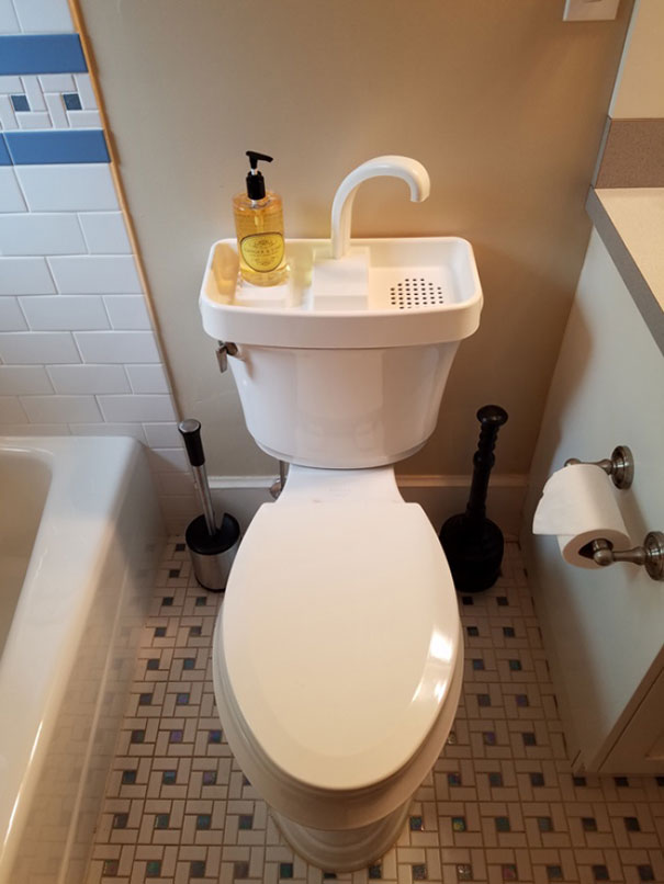 You Can Often Find This Kind Of Toilet In Japan. Wash Your Hands And Reuse The Water For Your Next Flush