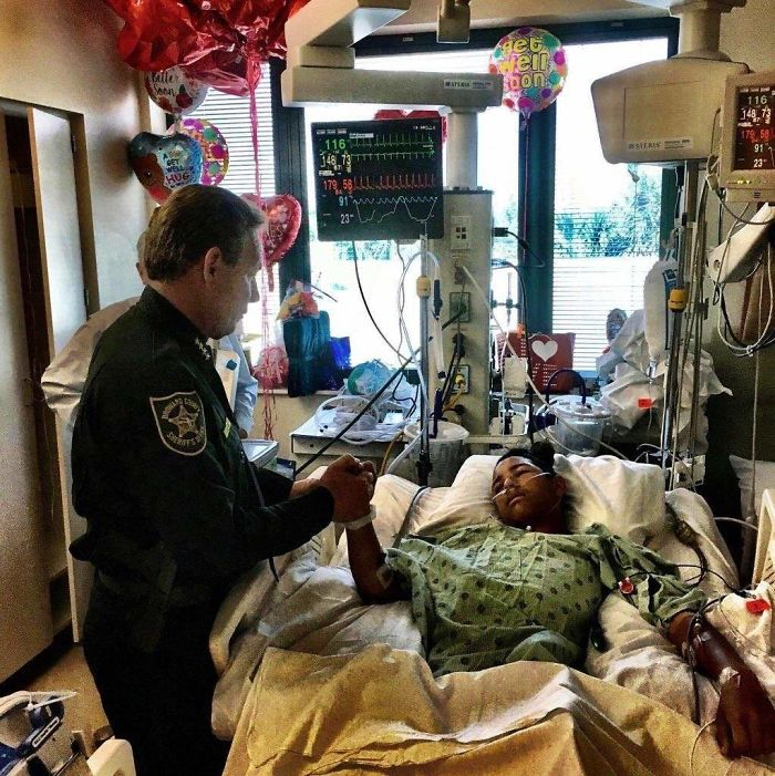 This Is Anthony Borges, 15. He Used His Body To Hold A Classroom Door Shut, Protecting 20 Other Students Inside As The Gunman Fired Through The Door, Hitting Him Five Times. May He Have A Speedy Recovery