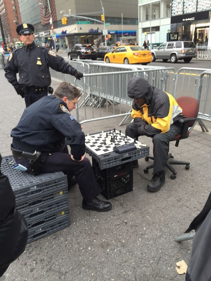 Just Two Guys Playing Chess In Union Square This Morning