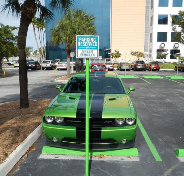 Green Car Parking Only!