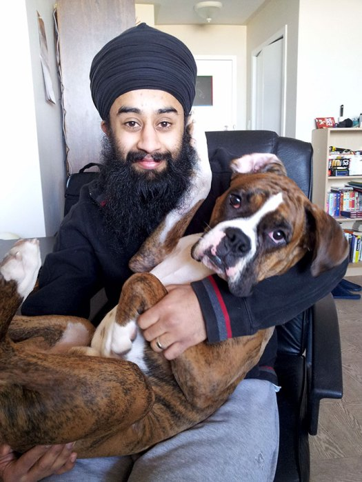 My Boxer Likes To Be Cradled Like A Baby. Then He Likes To Touch My Beard