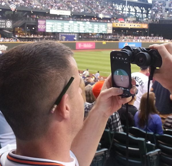 This Guy Is Living Like He's In 3018 While We're All Living In 2018. He Took Pictures Of Yankees Vs Mariners All Night Like This