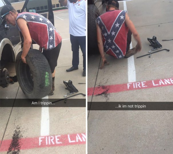 So My Dads Tire Blew Up On The Freeway And This Dude, With A Confederate Flag Tattoo, Wearing A Confederate Flag T-Shirt, With Confederate Flag Car Stickers, Stopped And Changed Our Tire. My Mind Is Blown, Don't Judge A Book By Its Cover