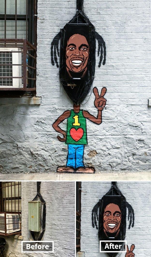 street-art-tom-bob-new-york-city-31-5b169f973188a__880 Genius Street Artist Is Running Loose In New York, And Let's Hope Nobody Catches Him (30+ New Pics) Art Design Random