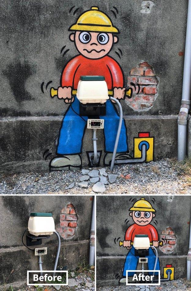 street-art-tom-bob-new-york-city-42-5b169fbd17cba__880 Genius Street Artist Is Running Loose In New York, And Let's Hope Nobody Catches Him (30+ New Pics) Art Design Random