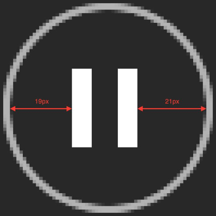 The Pause Button Icon In Spotify Is Off-Center By 1 Px