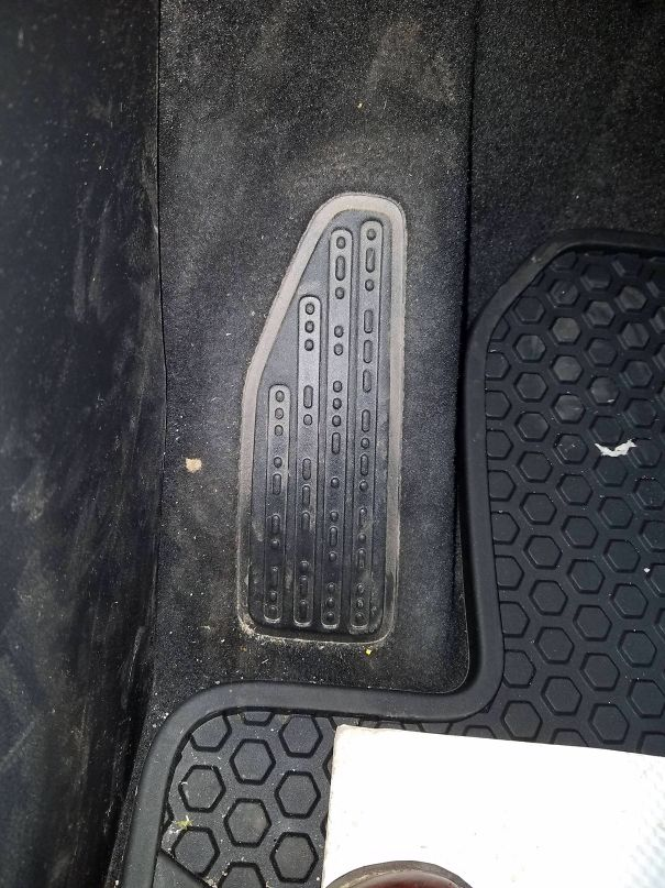 """The Footrest In My New Jeep Says """"Sand Snow Rivers Rocks"""" In Morse Code"""