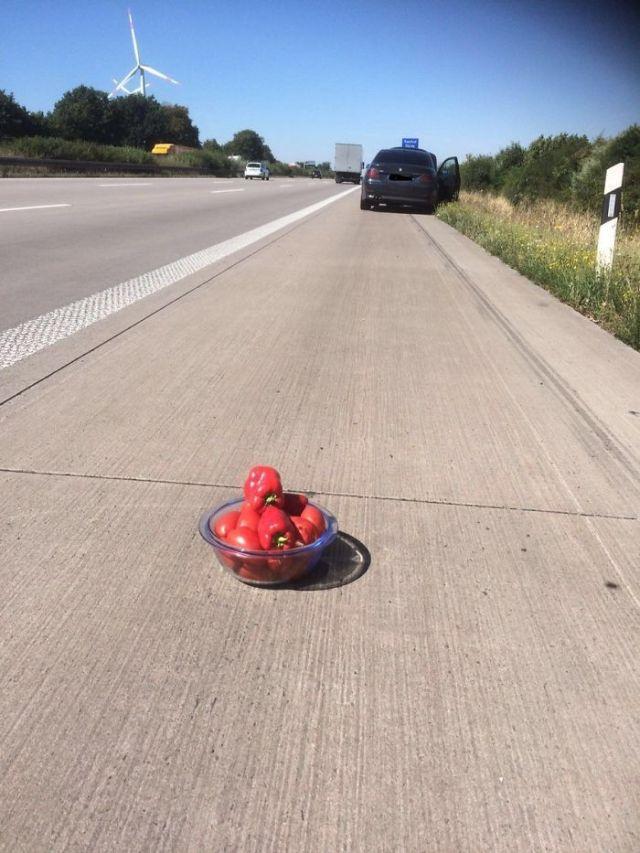 Este conductor lituano no tenía los triángulos de aciso, así que puso un bol con tomates y pimientos