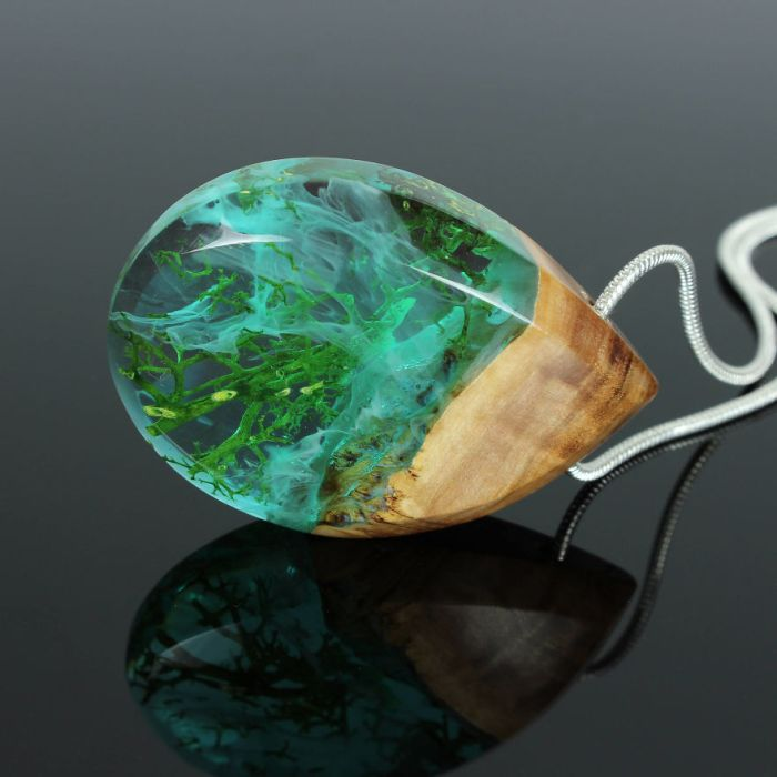 Wood, Resin, Opal Jewelry