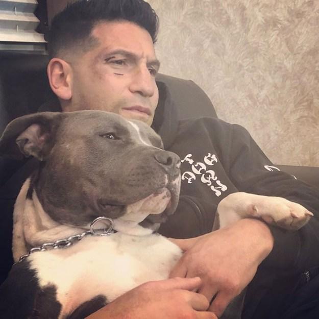 pitbull-lover-jon-bernthal-16-5b588e3326113__700 Heartwarming Photos Of 'The Walking Dead' Star With His 3 Rescue Pit Bulls Will Melt Your Heart Design Random