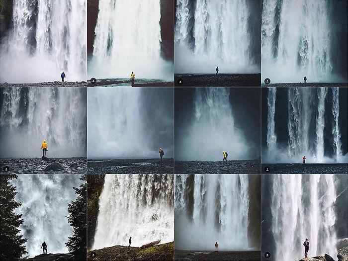Persona centrada en frente de una cascada