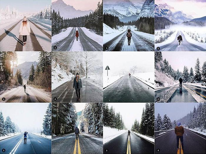 Persona parada en medio de un camino de invierno