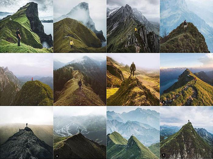 Persona centrada en un canto verde puntiagudo / montaña
