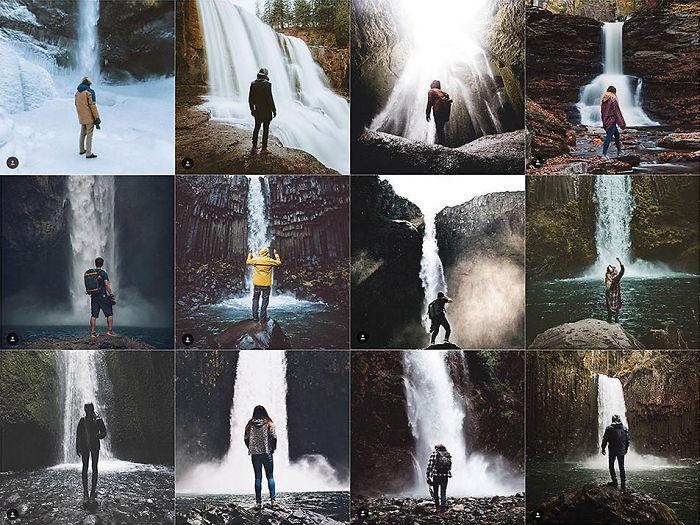 Persona centrada en frente de cascada