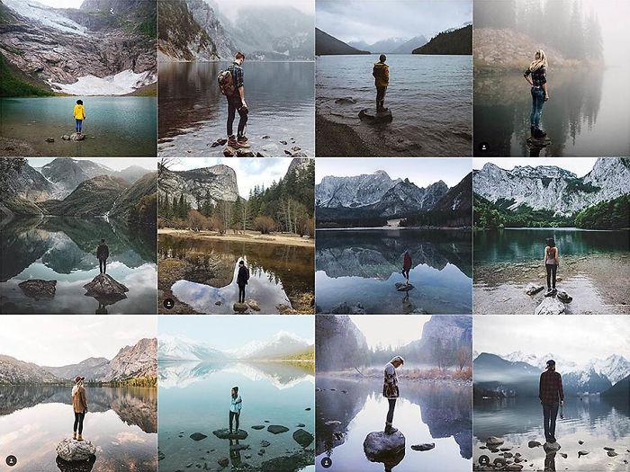 De pie sobre una roca en frente del agua