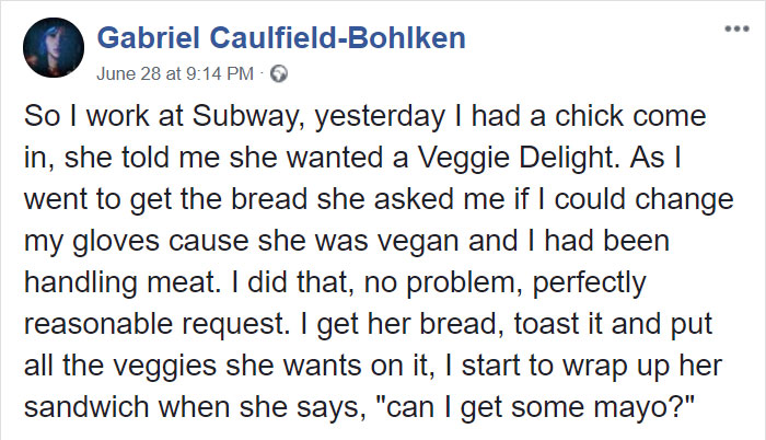 subway-worker-vegan-girl-mayonnaise-gabriel-caulfield-bohlken-1-5b431365e2f29__700 Subway Employee Accidentally Crushes Vegan's Soul By Telling Mayo Is Made From Eggs, And Her Reaction Is Priceless Design Random