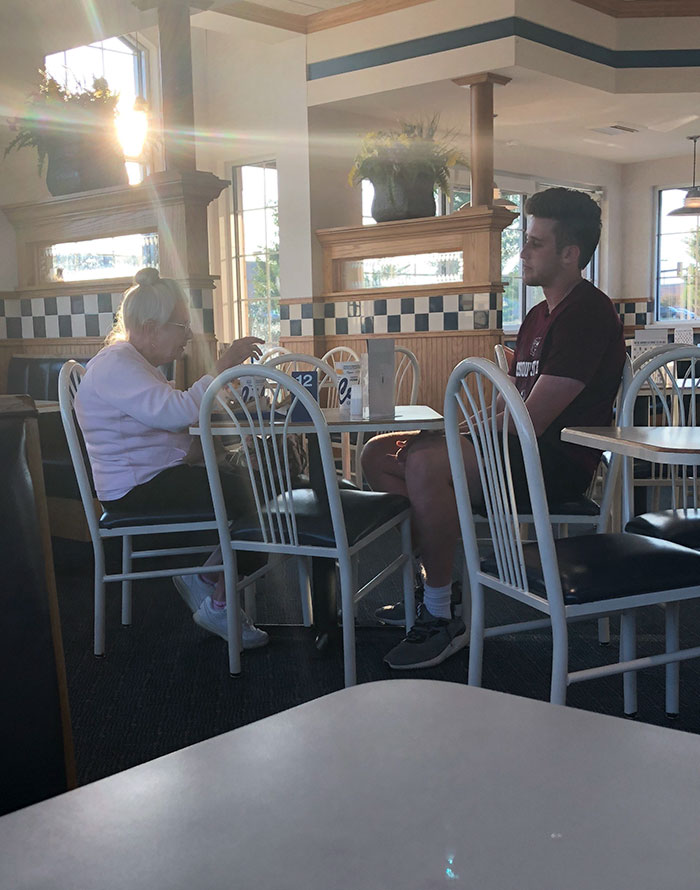 Young Man Comes In Alone, Sees The Older Lady Eating By Herself, Asks To Join Her. Instant Friends. This Is What Is Right In The World