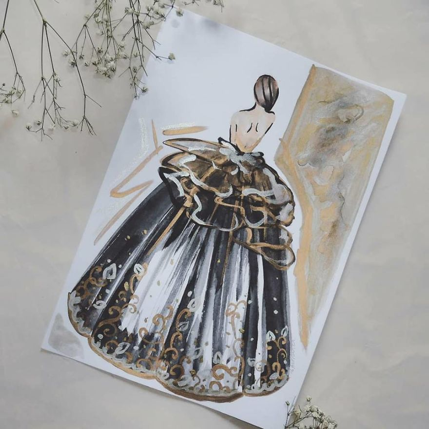 I Create Beautiful Watercolor Dresses